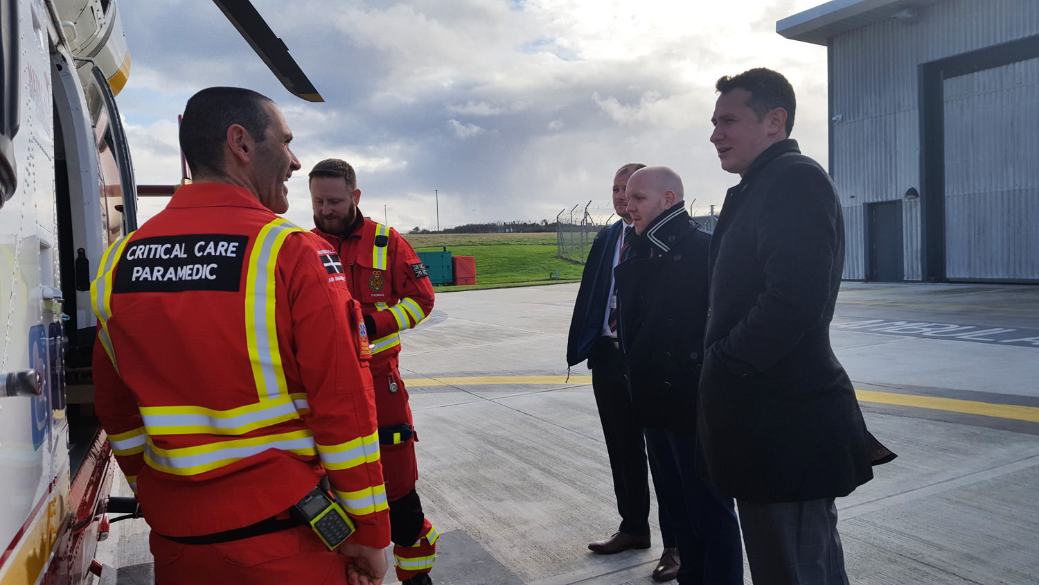 Cornwall Air Ambulance crew with Kivells staff learning about the amazing work they do