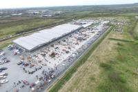An aerial view of a machinery sale under way at Holsworthy Livestock Market