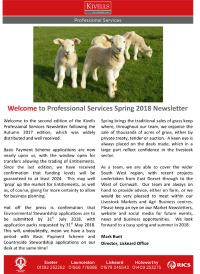 Kivells Professional Services Spring 2018 Newsletter