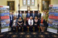 Kivells staff lined up for a  group photo at Launceston Guildhall for the property auction