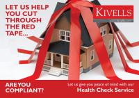 Kivells Lettings Health Check Flyer - A house covered in red tape