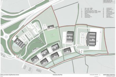 A site plan for the proposed agri-business centre, livestock market and service area development by Kivells