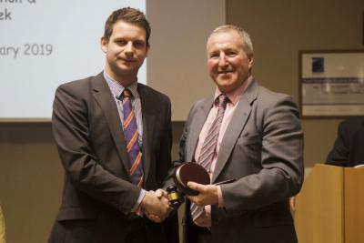 Kivells Ian Caunter receiving the LAA Gavel