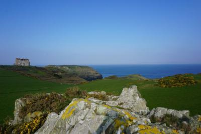 Land and hotel at Tintagel looking across to the sea