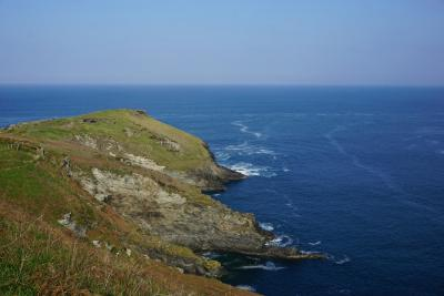Cliff land at Tintagel looking across to the sea