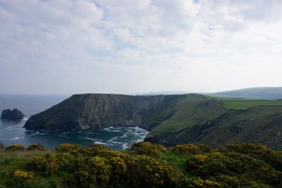 Land and cliff land at Tintagel looking across to the sea
