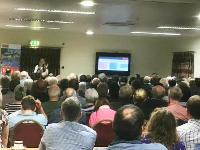 A packed room at Trethorne Leisure Park for the Planning for the Future seminar